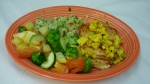 Pollo Cancun - 8 oz. grilled chicken breast topped with our new mango pico de gallo. Served with grilled pineapple, vegetables and a side of cucumber/tossed salad.