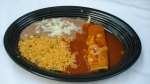 Enchilada - Served with rice and beans.